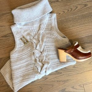 Intermix Sleeveless Cable-knit Turtleneck Sweater